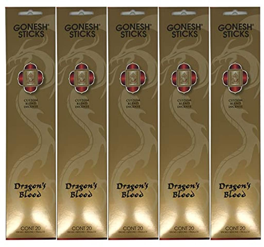 部分的シールあいさつGonesh カスタムブレンドインセンススティック - Dragon's Blood - 5パック (合計100本)