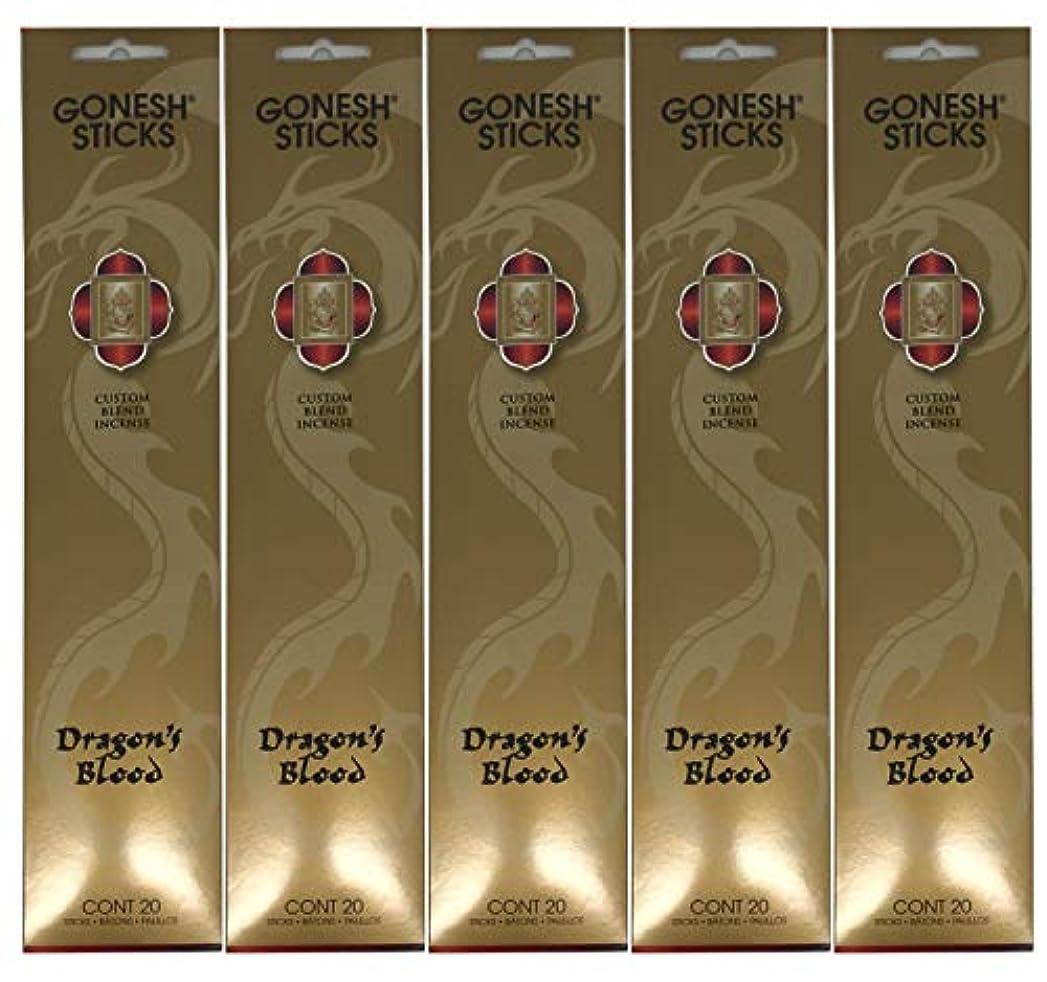 最小化するむしろ風景Gonesh カスタムブレンドインセンススティック - Dragon's Blood - 5パック (合計100本)