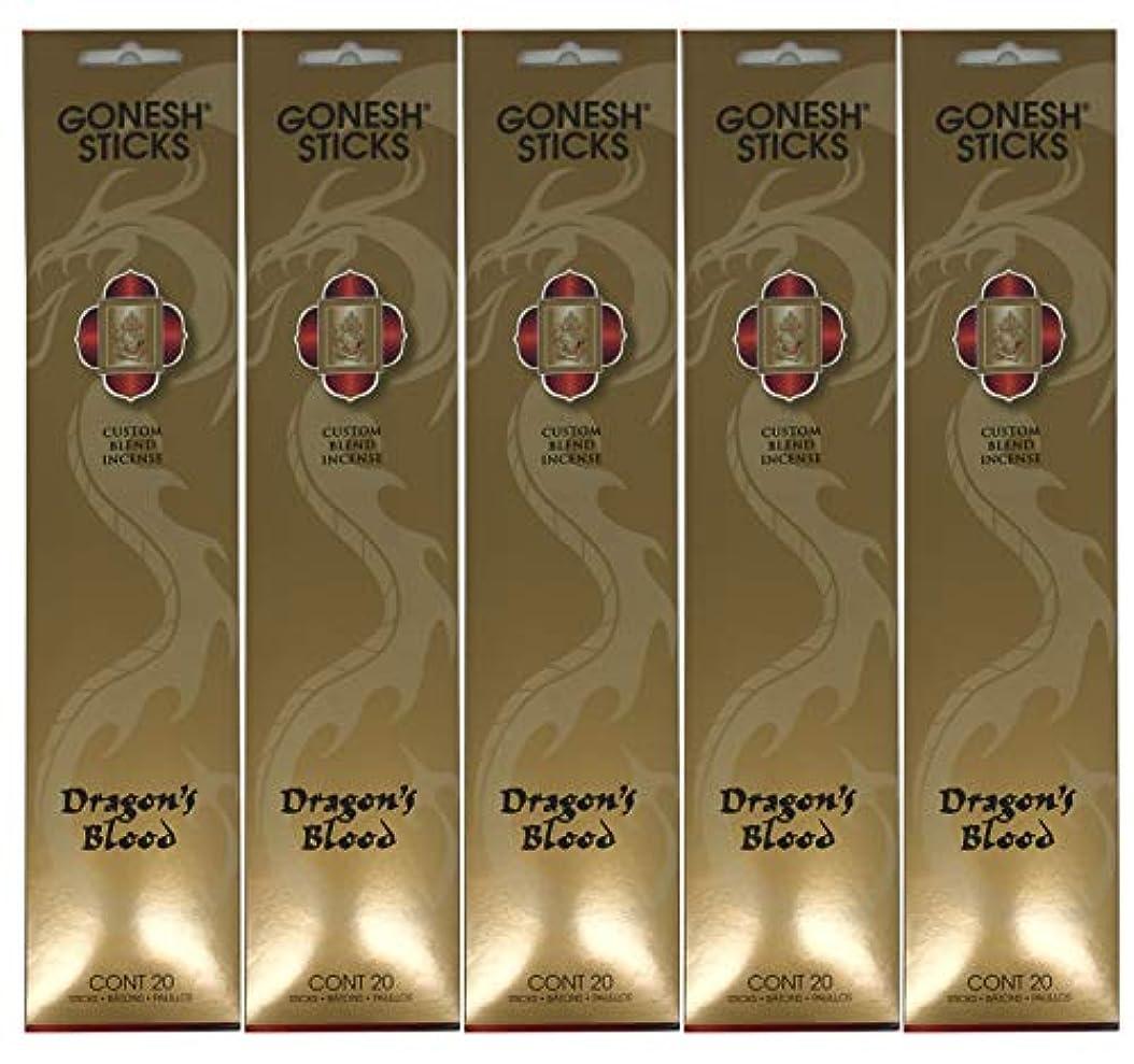 従う創傷移行するGonesh カスタムブレンドインセンススティック - Dragon's Blood - 5パック (合計100本)