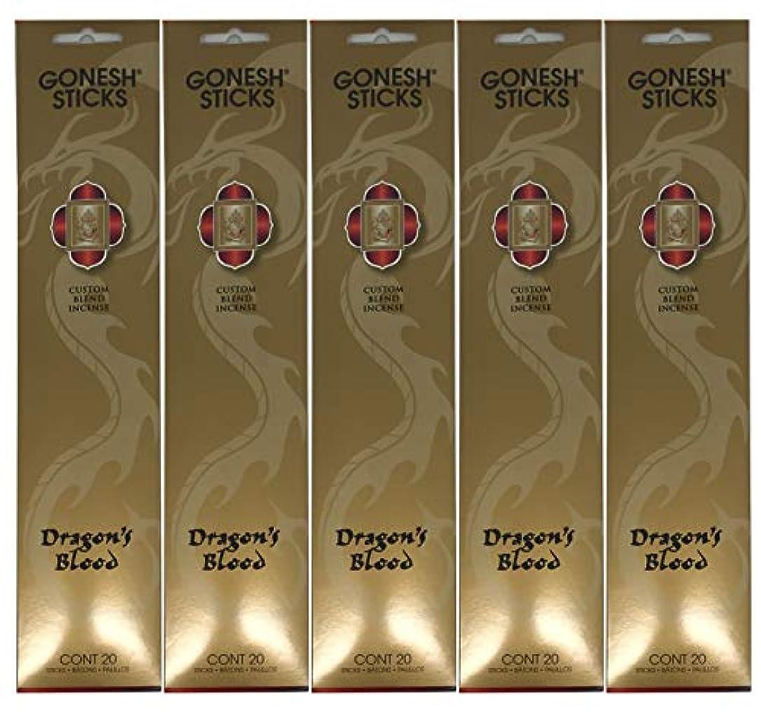 来てゲージ降雨Gonesh カスタムブレンドインセンススティック - Dragon's Blood - 5パック (合計100本)