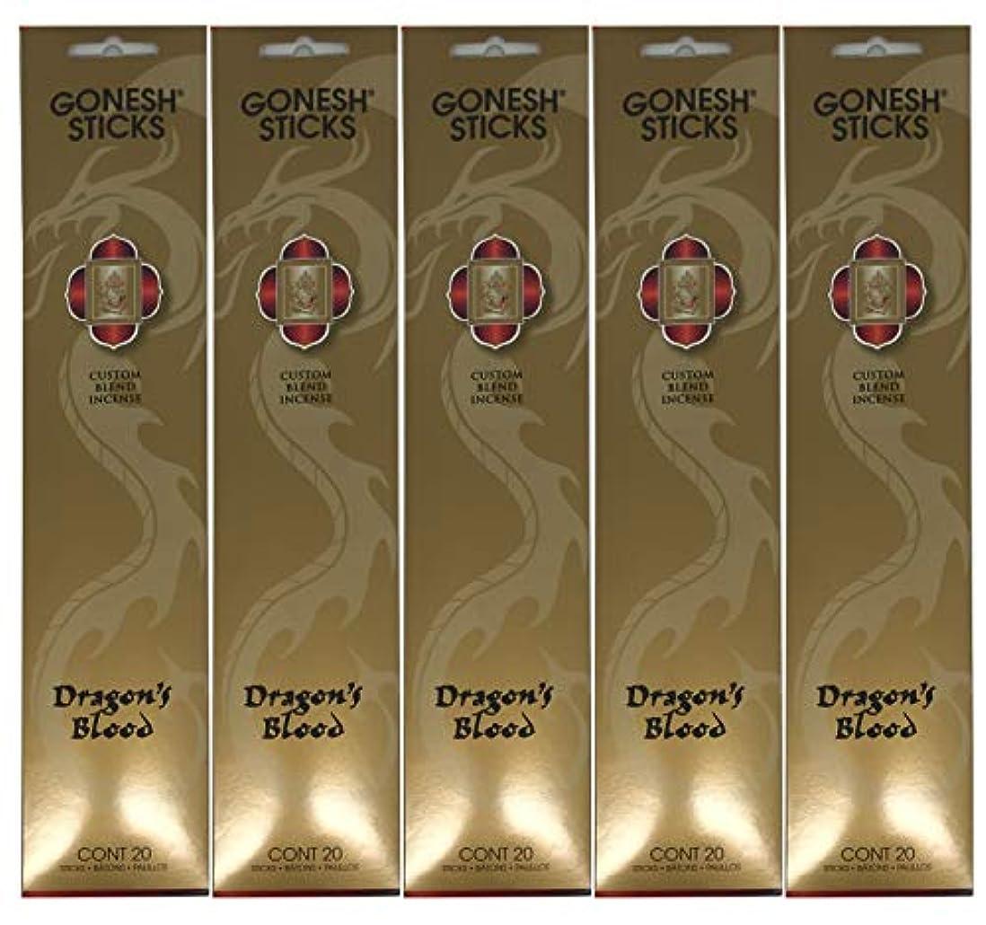 マルクス主義ジャンクいまGonesh カスタムブレンドインセンススティック - Dragon's Blood - 5パック (合計100本)