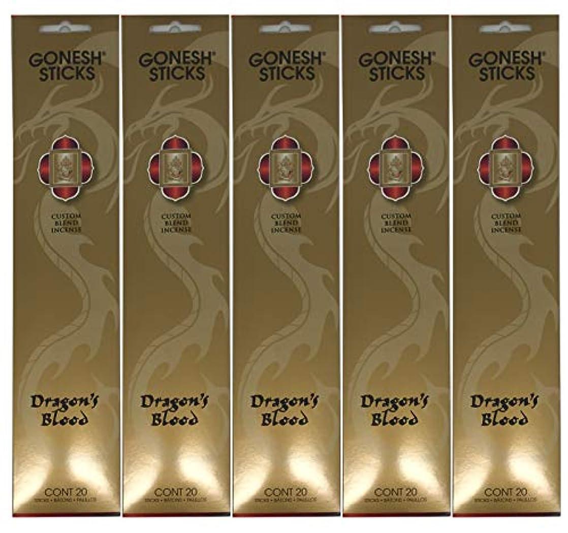 協同豊富なスコットランド人Gonesh カスタムブレンドインセンススティック - Dragon's Blood - 5パック (合計100本)