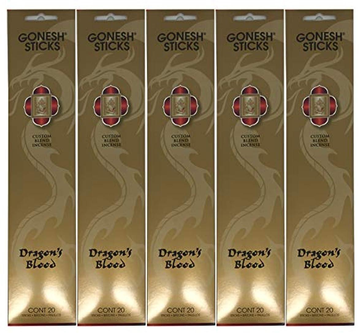 デコラティブ別に戦うGonesh カスタムブレンドインセンススティック - Dragon's Blood - 5パック (合計100本)