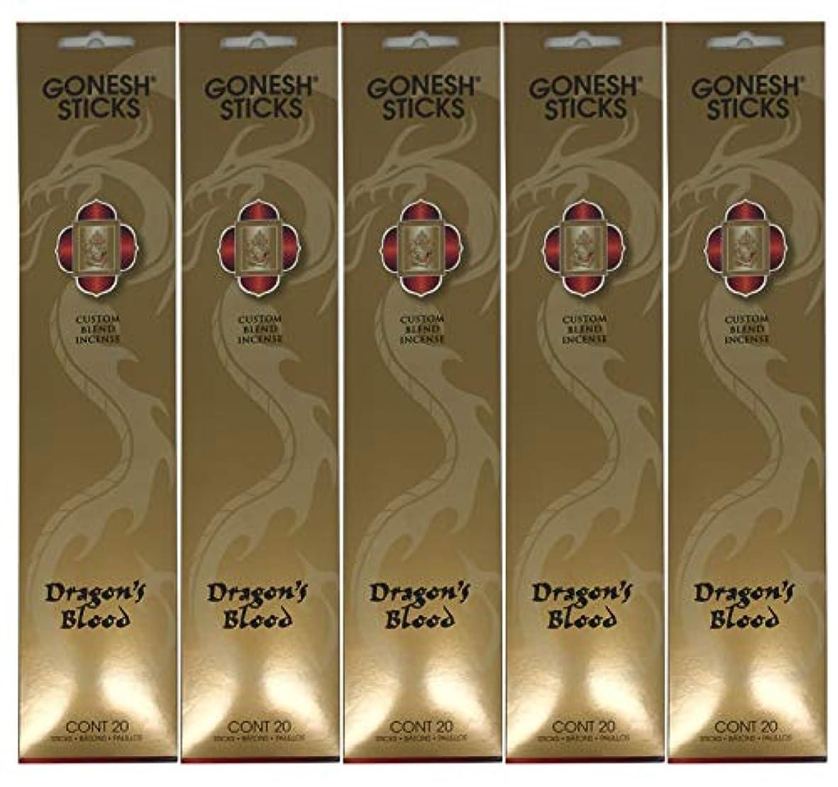 指定する日常的に幻想Gonesh カスタムブレンドインセンススティック - Dragon's Blood - 5パック (合計100本)