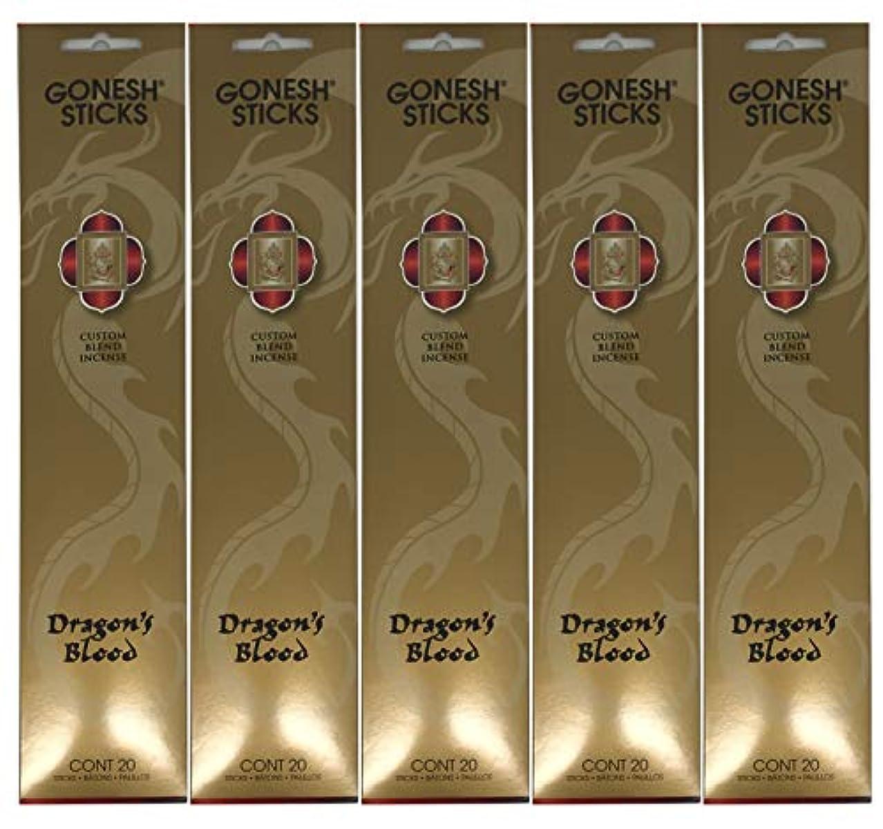 覆すダーベビルのテス音楽Gonesh カスタムブレンドインセンススティック - Dragon's Blood - 5パック (合計100本)