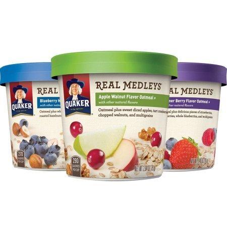 Quaker Real Medleys Instant Oatmeal Variety Pack Breakfast Cereal 70gx12個 インスタントオートミールバラエティパック朝食シリアル [並行輸入品]