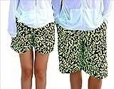 ペア 海水 パンツ カップル 水着 ビーチ ウェア コーデ メンズ レディース ズボン 短パン 体型カバー (L, ブラック×ロゴ柄(メンズ))