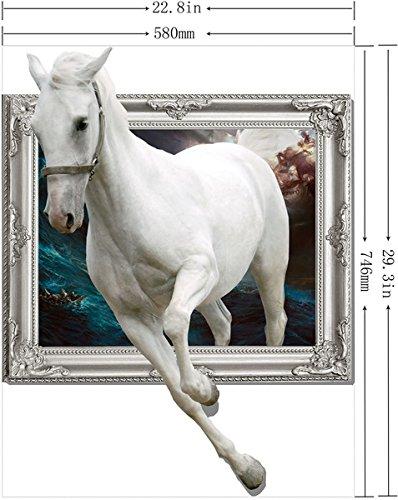【ノーブランド品】 ドッキリ! 額から飛び出す 美しい 白馬 3D風 ウォールステッカー