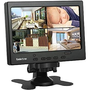 Koolertron 7インチ 液晶モニター1080p HDMI ディスプレイ カメラモニター 防犯 監視用/DSLR/PC/CCTVカメラ/DVD/ホームオフィス監視用HDMI/VGA/AVポート 液晶モニター セキュアシステム