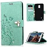 Samsung Galaxy note4 ケース Mavis's Diary 横置き 耐久性 保護ケース 吸着の機能 スタンド 手帳型 PUレザー素材 ミントグリーン