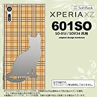 601SO スマホケース Xperia XZ 601SO カバー エクスペリア XZ 猫 チェック茶B nk-601so-956