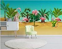 Wuyyii 壁紙家の装飾子供部屋の赤ちゃん部屋熱帯雨林植物フラミンゴサボテン背景壁画3D壁紙-400X280Cm