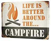 """アンティーク 看板 Camp fire室内装飾家、パブ、ビール、ガレージ、庭、コーヒー、寝室、リビングルーム12x16"""""""