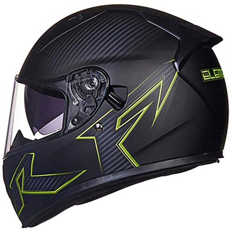 男性グリースランタンHYH オートバイバッテリーカーヘルメット乗馬ダブルレンズフルヘルメットヘルメット冬ヘルメット暖かいスカーフ いい人生 (色 : Black, Size : XL)