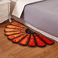JSSFQK ソリッドカラーシンプルなベッドサイドベッドサイドマットレスPiaochuangロングヘアシェアルームQing Fan-shaped Carpet じゅうたん (色 : #3)