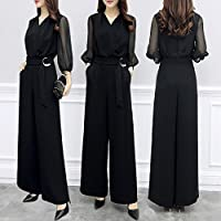 パンツドレス 結婚式 オールインワン レディース 大きいサイズ パーティードレス パンツ オーバーオール 上品 黒 連体服 通勤 (XL, 黒色)