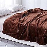 毛布 あったか 厚手 フランネル 掛け毛布 マイクロファイバー ブランケット 洗える (シングル・140X200cm, ブラウン)