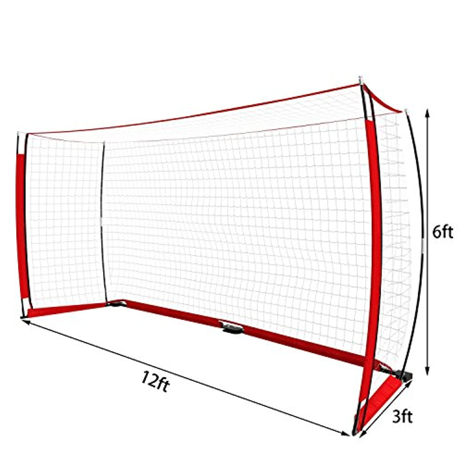 12 x 6フィートFootball Soccer Goal withポータブルBow Net and Carryバッグ