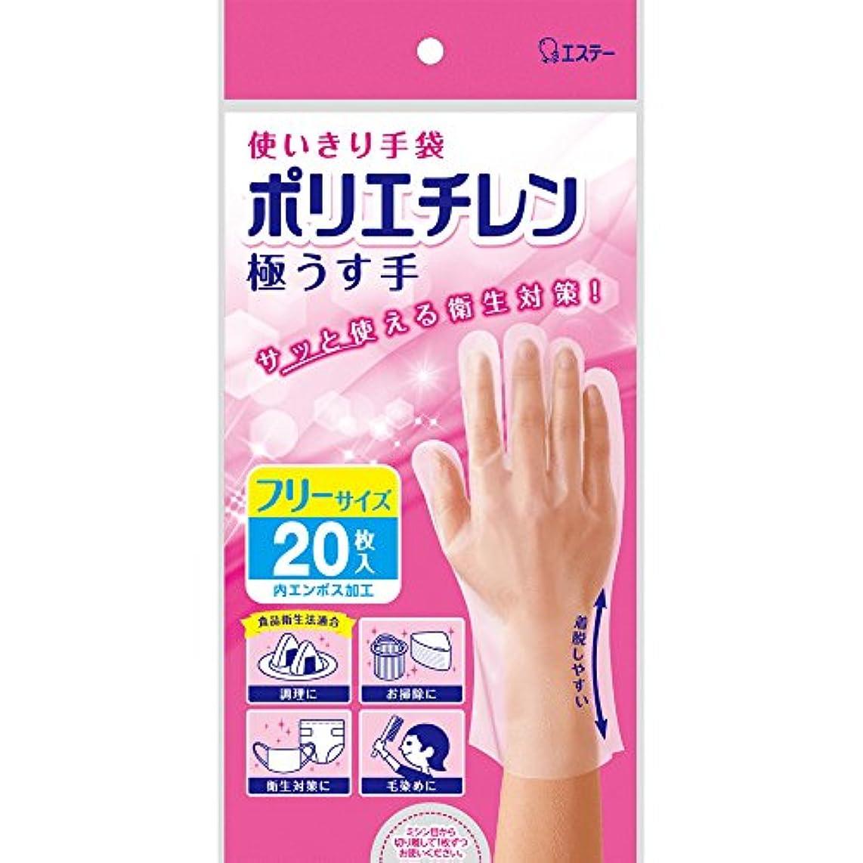 マウント干渉保持使いきり手袋 ポリエチレン 極うす手 フリーサイズ 半透明N20枚