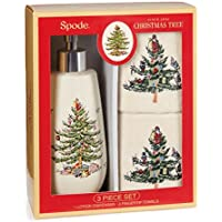 SpodeクリスマスTree Lotion / Hand Soap Dispenser & 2フィンガーチップゲストタオル、ギフトボックスセット
