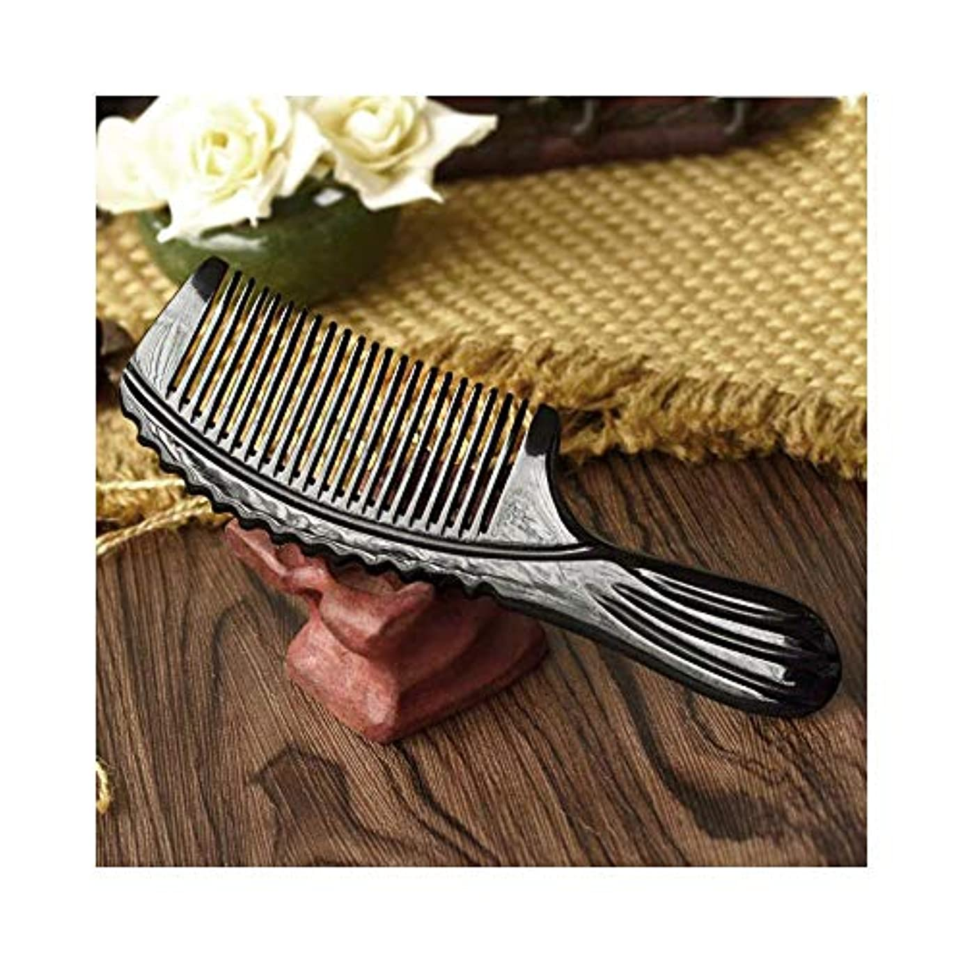 設計図野心的繁栄WASAIO ヘアブラシハンドメイドブラックバッファローホーンコーム(標準歯、静電気なし)