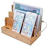 [veesee]竹製 卓上 充電スタンド 多功能充電ホルダー 木目調 iPhone Android iPod iPad Mac PC など対応 (木目調)