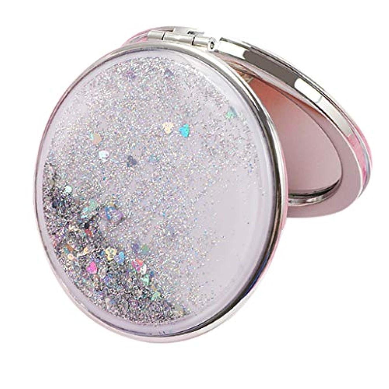 針敵意変形する両面コンパクトミラー 化粧鏡 流砂デザイン 折りたたみ式 コンパクト鏡 携帯ミラー 外出に 全10種 - シルバーラウンド