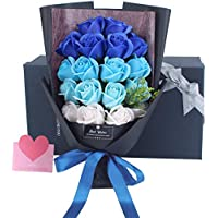 Capiner 大切な人に大切な想いを ソープフラワー 薔薇 花束 プレゼント 記念日 バラ ギフト 造花 贈り物 お祝い 誕生日 結婚 還暦 母の日 父の日 メッセージカード ショップバッグ付(18本) (ブルーグラデーション)