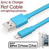 [ Apple MFI認定]イエローナイフブルーヌードルフラットライトニングUSBデータ同期充電データケーブルコード3.3Ft / 1M For iPhone 5s / 5C / 5, iPad Air / Mini / mini2、iPad第4世代、iPod第5世代、iPod Nano第7世代充電と同期と互換性ios7.0+