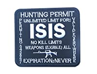 アメリカ軍 ISIS HUNTING PERMIT イスラム国ハンティング許可証 パッチ ワッペン ベロクロ着脱式(ブラック)