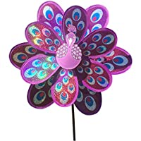 Jesse Peacock Wind Spinner Sequins Double Layers 3D Colourful Funny Windmill for Yard Garden Purple