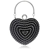 Women's Heart-Shaped Evening Bag, Clutch Bag, Chain Messenger Bag, Suitable for Wedding, Banquet, Dating (Color : Black)