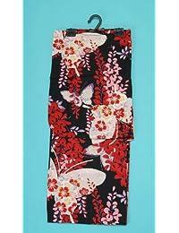 女物浴衣黒×白×赤(蝶々と藤 ) 女浴衣 レディース