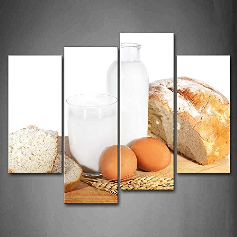 最初のキャンバスの壁アート – パン小麦の卵と牛乳ウォールアート絵画プリント食品画像ホーム装飾ギフト 12x26inchx2Panel,12x35inchx2Panel 8220426F