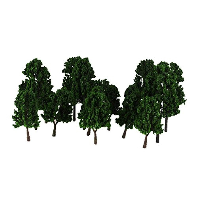 【ノーブランド品】1/100-1/200サイズ 鉄道模型 鉄道風景 箱庭用 モデルツリー 樹木 (ダークグリーン) 16本