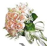 (ジェイビーエス)JBS ウェディングブーケ ブライダル フラワー 結婚式 花嫁 披露宴 バラ 花束 (コーラルピンク)