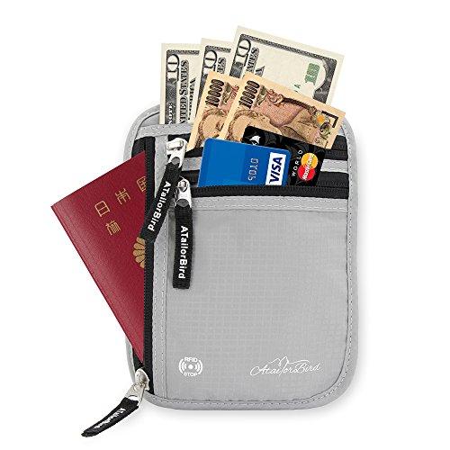 ネックポーチスキミング防止 ATailorBird パスポートケース IDカードケース海外旅行便利グッズ 防犯グッズ 予防対策 RFID 薄い iPhone 7 Plus/6S Plus収納可能
