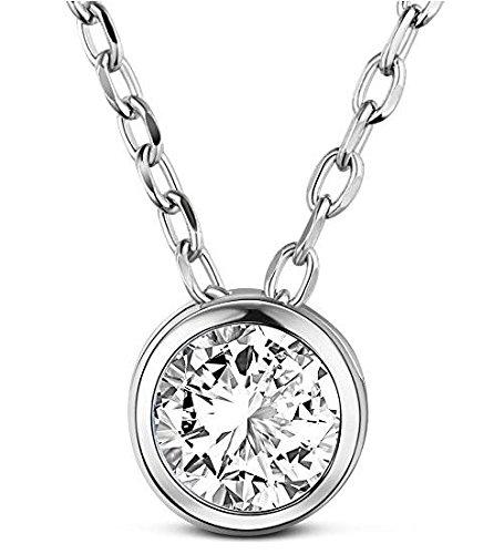 Tinysand スワロフスキーCZキュービックジルコニア 一粒 ペンダント シルバー925 ネックレス ファッション レディース 純銀