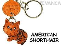 American Shorthair Cat SmallレザーキーチェーンVANCA craft-collectibleキーリングチャームペンダント日本製