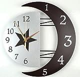 ELEEJE 月 形の モダン な サイレント 壁掛け 時計