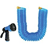 """Rocky Mountain Goods Coiled Garden Hose with 10 Pattern Spray Nozzle 50 Foot by 3/8"""" - Leakproof - Heavy duty UV stabilized p"""