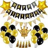 LORAER Qianer 誕生日 飾り付けセット 男の子 女の子 バースデーデコレーション きらきら風船飾り バルーンセット Happy Birthdayアルミバルーン おしゃれ パーティー 装飾 お祝い(H01)