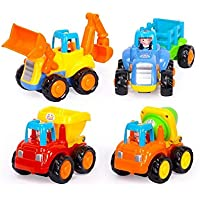 lomalson Push and Go car toys、Friction PoweredプラスチックPull Backエンジニアリング車チームToys Excavatorトラックダンプ車モルタル&ファームトラクター、4個キュートMini Farm And Beach Vehicle Toys for Children