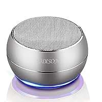 【金属強化版】ポータブル Bluetooth スピーカー ミニ ワイヤレス 360度 3Dサラウンド LEDムードライト 内蔵マイク HD DSPノイズキャンセリングコール TFカード AUX 18時間FMハンズフリー 充電でき 高音質 最新、より大きな45mmのドライバワイヤレススピーカー iphone ipad Samsung スマートフォン Andriod タブレットやPCなどに適用する (シルバー)