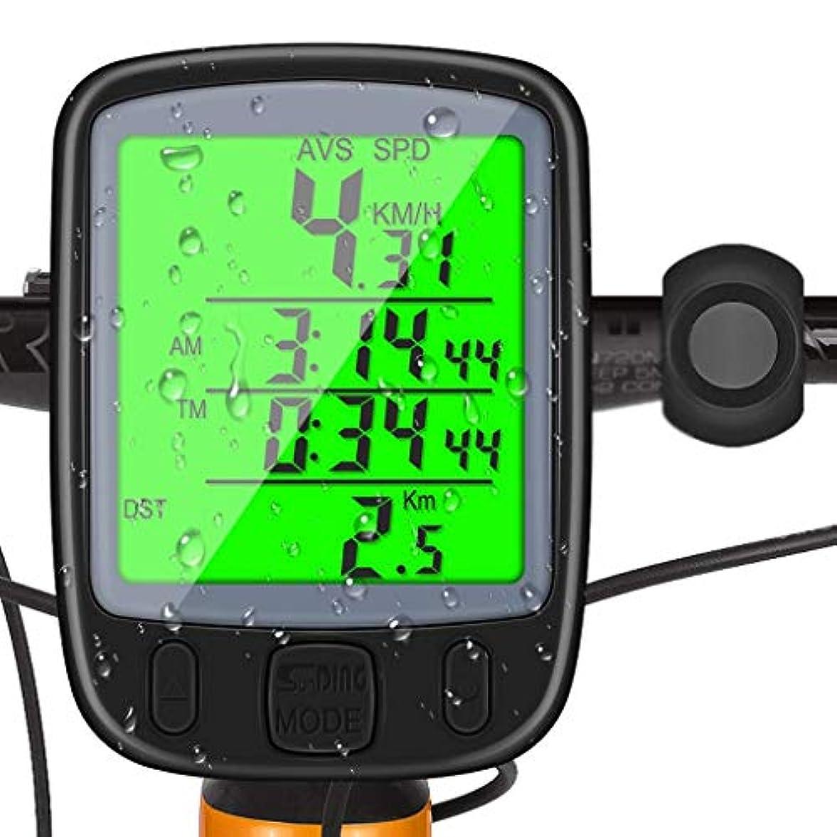報復湿原起業家FH-13 防水デジタルL-C-Dサイクル自転車自転車コンピュータ走行距離スピードメーター自転車グリーンバックライトバイクコンピューター DN (Color : Black)