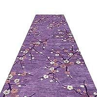 廊下ランナーカーペットプラム花柄アンチスリップカッターソフト緻密パイルロングエリアラグ用ホテル厚さ8mmサイズカスタマイズ可能