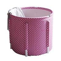 折りたたみバスタブ世帯風呂桶 バスルーム大人風呂樽折りたたみ風呂 子供風呂浴槽肥厚バスタブ無料インフレータブル (Color : Pink-A, Size : 70*70*70cm)