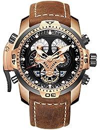 Reef Tiger 男性運動腕時計 ピンクゴールド ミリタリーウォッチ RGA3503
