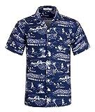 アロハシャツ メンズ 半袖 軽量 プリントシャツ ハワイ風 花柄シャツ 通気速乾 夏 オシャレ ビーチウェディング ハワイ 柄 日本L(USタグM)