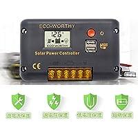 ECO-WORTHY ソーラーチャージコントローラ 20A 12V / 24VオートスイッチバッテリレギュレータLCDディスプレイUSBポートによる過負荷保護